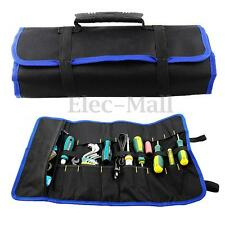 Canvas Chisel Tool Roll Plier Screwdriver Spanner Carrying Handle Case Pouch Bag