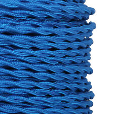 3 CORE ELECTRIC BLUE- ANTIQUE TWISTED BRAIDED WOVEN FABRIC LAMP FLEXIBLE CABLE