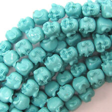 "12mm synthetic coral carved buddha beads 7"" strand blue"