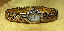 Vintage Bulova Swiss Genuine Diamonds / Gold Tone Ladies Watch