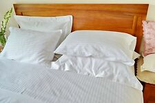 2 Double Bed Sheet Sets Egyptian Cotton White Stripe Commercial Quality