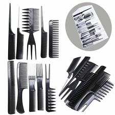 10 X Black Pro Salon Hair Styling Hairdressing Plastic Barbers Brush Combs Set