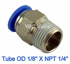 5pcs Male Straight Connector Tube OD 1/8 X NPT 1/4 Pneumatic Air Tube Fitting
