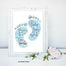 A PERSONALISED BABY BOYS WORDART GIFT KEEPSAKE  SIZE NEW BABY SON SHOWER FAMILY