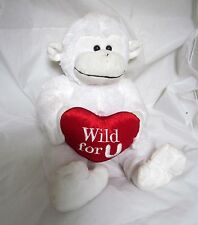 """15"""" White Love Heart Monkey Stuffed Plush Toy Wild for you VALENTINE'S DAY GIFT"""