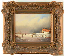 Holland Oil on panel painting signed FJ grouws Winter landscape circa 1930