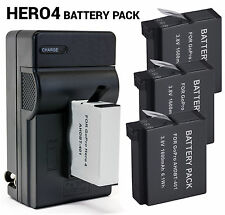 5PC Battery + Charger Bundle Kit for GoPro HERO4 Silver Black Camera AHDBT-401