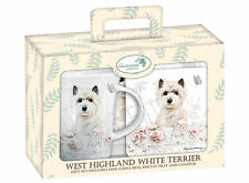 NEW Westie Tea Time Gift Set, West Highland Terrier Mug, Biscuit Tray & Coaster.