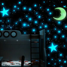 DIY 1Moon & 100pcs 3D Glow In The Dark Light Facny Blue Stars Wall Stickers