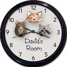 Wilderness Animals Bear Fox Racoon Custom Personalized Wall Clock New 10""
