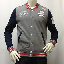 Men's SUPER MARIO BROS Light Varsity Jacket NINTENDO Gray/Blue Small S Org. $70
