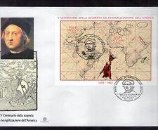 FDC VATICAN 24-III-1992 V°CENT.D.SCOPERTA ED EVANGELIZZAZIONE DELL'AMERICA