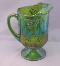Vintage INDIANA LIME GREEN Iridescent Carnival Glass Pitcher Harvest Grape MINT