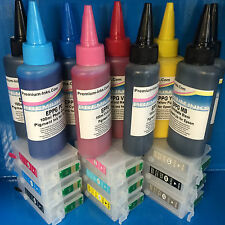 9 PIGMENT INK + REFILLABLE EMPTY CARTRIDGES FOR EPSON STYLUS PHOTO R3000 NON OEM