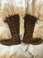 Minnetonka Moccasins Tall Knee High Boots Side Lace Up SZ 9