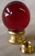 "Lamp finial w 1"" red glass ball 1 7/16"" h ""a"" (per each)  W/ REMOVABLE REDUCER"