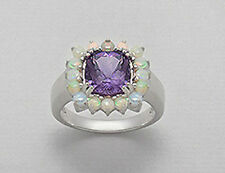NEW Solid Sterling Silver Genuine Natural Amethyst & Opal Cocktail Ring Size5. 5