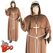 Friar Tuck + Wig XL Mens Fancy Dress Religious Medieval Adults Priest Costume