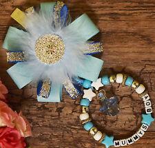 Personalised stunning wid Rhinestone pram charm in blue for baby boys ideal gift