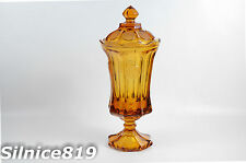 VINTAGE FOSTORIA AMBER COLOR COIN COVERED CANDY DISH