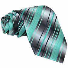 New Men's Poly Woven neck tie Neck Tie Only Teal Blue / Gray / Navy Wedding Prom