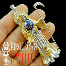 14K YELLOW GOLD OVER SILVER SANTISIMA MUERTE GRIM RIPPER ANGEL OF DEATH PENDANT