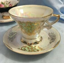 Royal Crown Luster Ware Gold Gilt Footed Tea Cup and Saucer