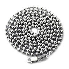 "BEST SOLID 925 STERLING SILVER BEADED NECKLACE 2.4MM BALL CHAIN 24"" ITALY"