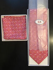 New Vera Bradley for Baekgaard Mod Pink Neck Tie With Matching Pocket Square
