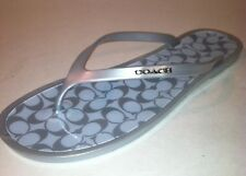 Coach Silver Sandals Signature Flip Flop Jelly LYRA Thongs Size 6  $78