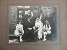 WW1 Vintage Photo On Card Wedding Family Portrait Original Collectable FC41