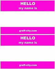 100 X HELLO MY NAME IS STICKERS - PINK / WHITE - 8CM X 6CM