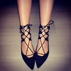 YE Womens girsl lace-up pointy toe ballet flats cut out sandal gladiators Shoes