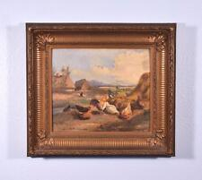 Antique Oil on Panel Painting of a Farm with Chickens by Bernard De Pooter