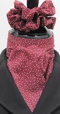 Self Tie Cherry Red & White Stars Cotton Riding Stock & Scrunchie - Hunting Show