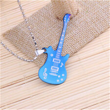 Classic Men's Guitar Silver 316L Stainless Steel Titanium Pendant NecklaceGreen