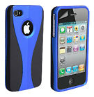 Stylish Grip Series Black Blue Hard Cover Case For iPhone 4 4G 4S + Screen Guard