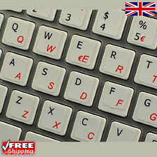 Dual Italian English White Keyboard Stickers with Red Letters Laptop Computer PC