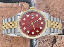 Gents RED Diamond Dial Steel & Yellow Gold Rolex Oyster Perpetual Datejust