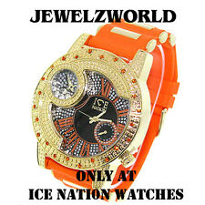 MENS ICED OUT GOLD/ORANGE ICE NATION HIP HOP WATCH WITH SILICONE BULLET BAND