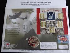 2005 ARGENTO PROOF Gibilterra £ 5 Coin FAR rintracciare + COA 65th ann Battaglia d'Inghilterra/500