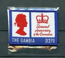 Gambia 2013 MNH Queen Elizabeth II Diamond Ann Coronation 1v Embroidered Stamps