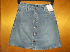 "F+F 100%Cotton Front Button Classic A-Line Denim Skirt UK6 W28"" L17.5"" Blue BNWT"