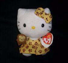 """5"""" 2013 SANRIO TY BABY HELLO KITTY W/ MONKEY PAW PRINT STUFFED ANIMAL PLUSH TOY"""