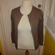 Ladies Brown Bloomingdales Cashmere Cardigan M FREE SHIPPING