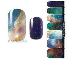 Galaxy Blue Nail Wrap Patch Foil Adhesive Stickers 14pcs Ultra-thin