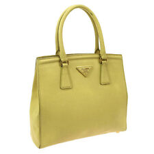 Authentic PRADA Logos SAFFIANO Hand Tote Bag Light Yellow Leather Italy V07329