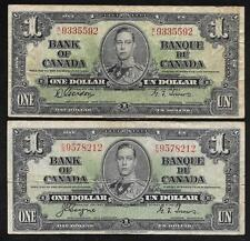 Bank of CANADA - 2 Old 1 Dollar Notes - 1937 - Gordon & Coyne Var's - VG to FINE