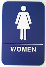 WOMAN Blue Sign ADA Compliant w/ Braille Public Accommodation Facilities Sign