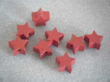 5 14mm Star Shaped Wooden Wood Beads Bright Red